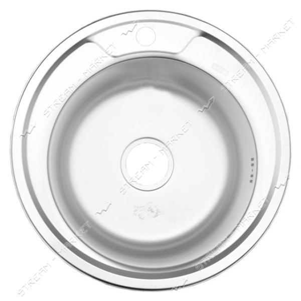 Мойка врезная d 49 декор (большой сифон, гл.чаши 16-18 см, толщина 0, 6 мм)