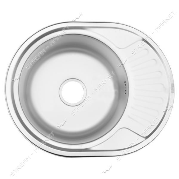 Мойка врезная mini ширина 577 мм * 447 мм декор (большой сифон, гл.чаши 16-18 см, толщина 0, 6 мм)