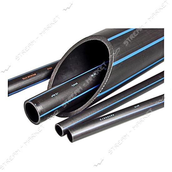 Труба ПНД d32 черная с синей полосой PN6 Полимир (200м)