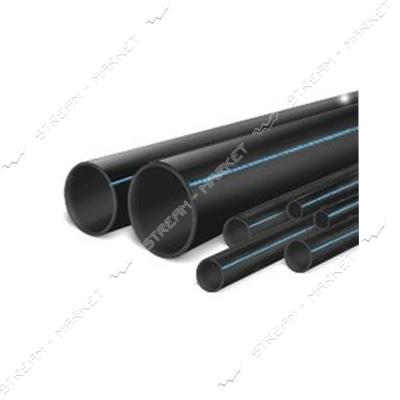 Труба ПНД d20 черная с синей полосой PN10 Полимир (100м)
