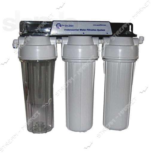 Система очистки AQUAFILTER трехступенчатая FP3-2 под кухонную мойку с вкладами 10'