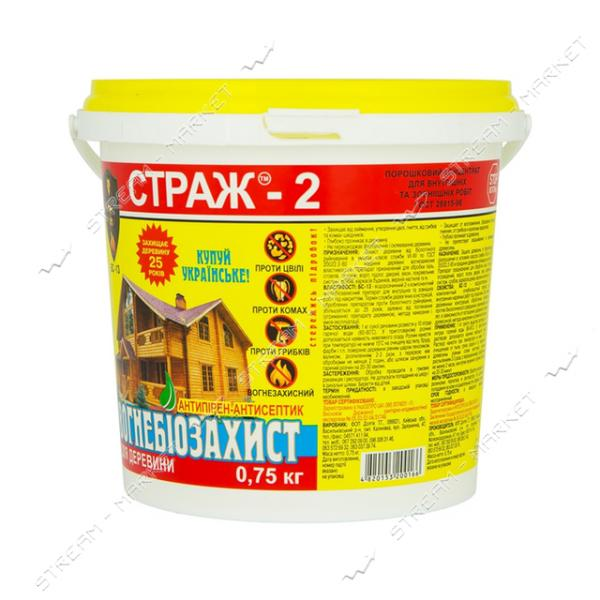 Антисептик СТРАЖ-2 огнебиозащита БС-13 сухой концентрат 0.75кг ведро