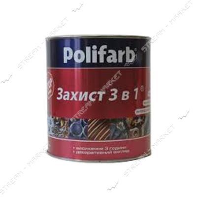 Эмаль Polifarb RAL8012 Защита 3в1 0.9л красно-коричневый