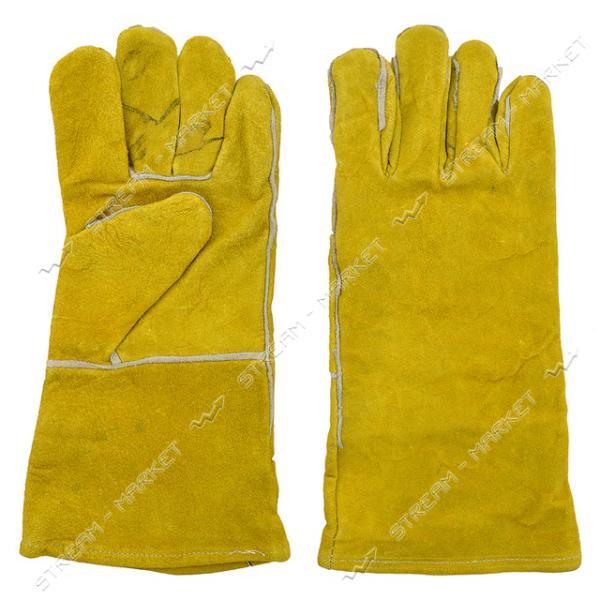 Перчатки рабочие краги замшевые желтые 35см