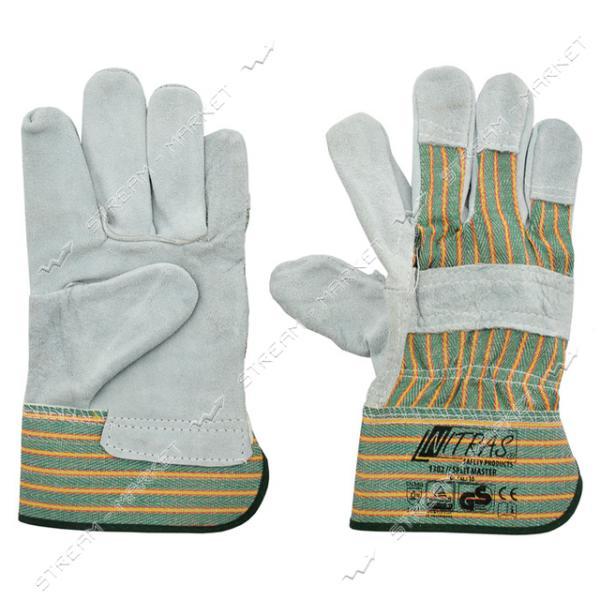 Перчатки замш цельная ладонь с х/б тканевой вставкой