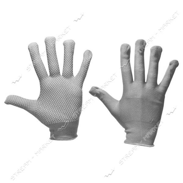 Перчатки рабочие женские синтетика с ПВХ точкой серые