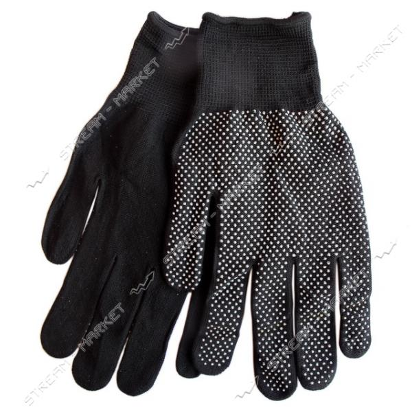 Перчатки рабочие женские синтетика с ПВХ точкой черные