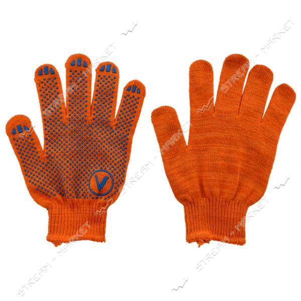Перчатки рабочие х/б синтетика оранжевые с ПВХ покрытием