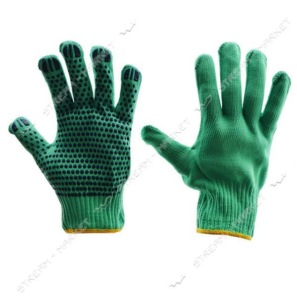 Перчатки рабочие синтетика с ПВХ точкой зеленые