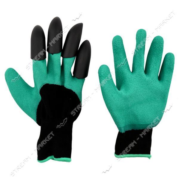 Перчатки рабочие садовые стрейч с латексным покрытием и пластиковыми напальчниками