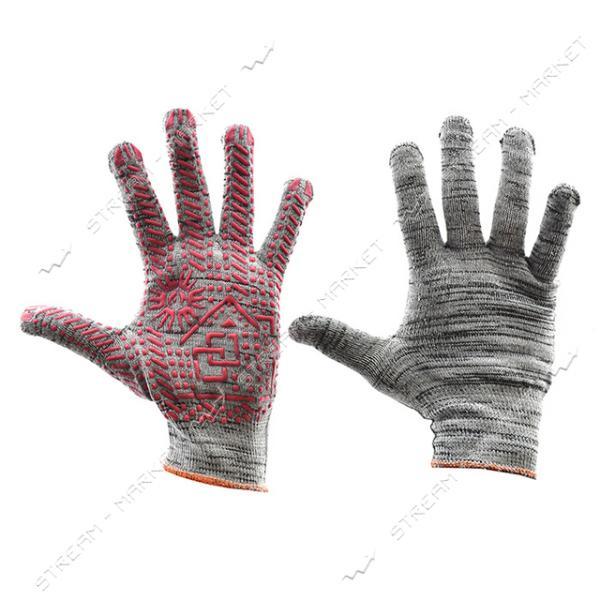 Перчатки рабочие Домик трикотажные светло-серые арт. 108