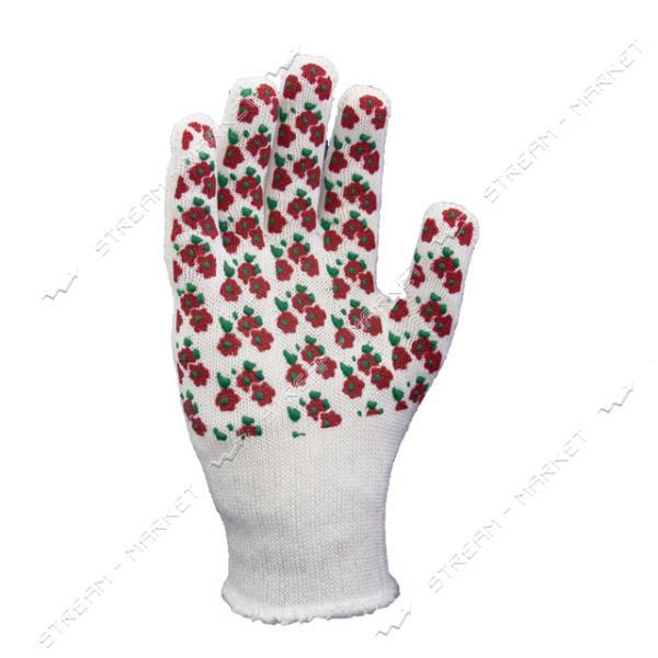 Перчатки DOLONI арт.4298 Цветочек белые узор красный х/б с ПВХ покрытием