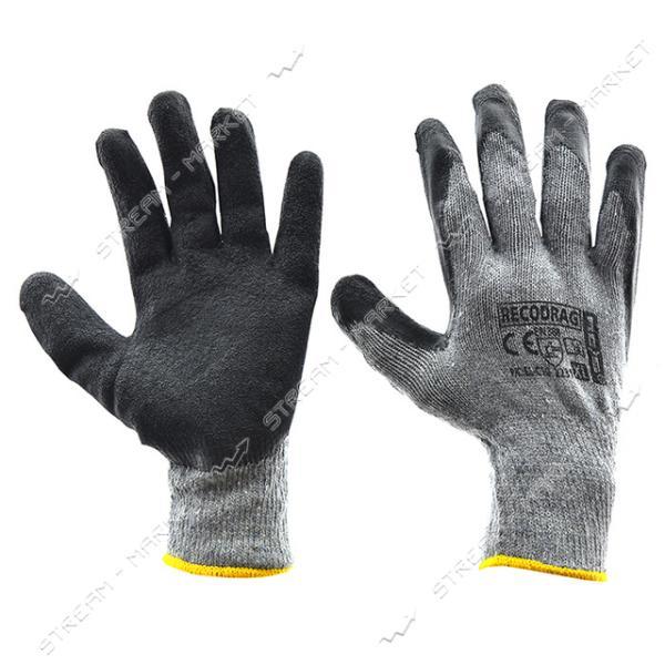 Перчатки рабочие Recodrag х/б покрытые вспененной резиной серо-черные