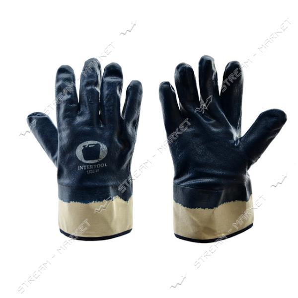 Перчатки рабочие масло-бензостойкие х/б с синим резиновым покрытием широкий манжет