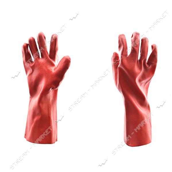Перчатки масло-бензостойкие длинные красные, х/б с резиновым покрытием (по локоть) (эконом) (12 пар)