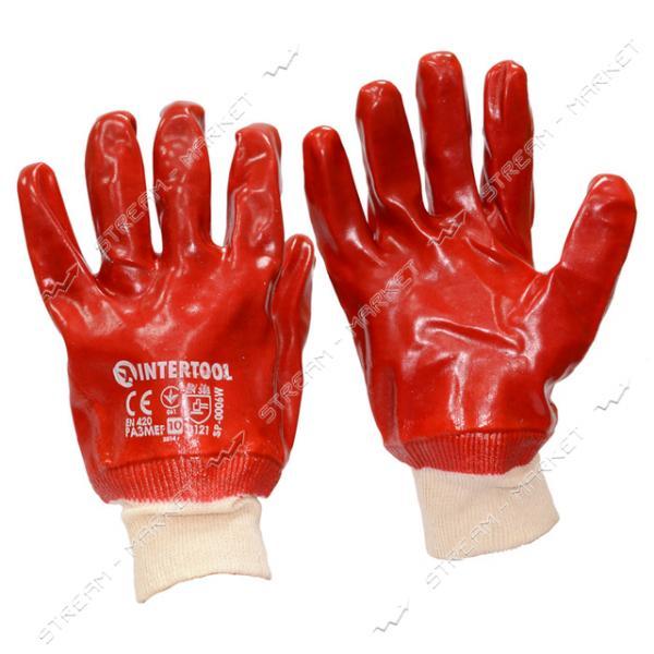 Перчатки рабочие масло-бензостойкие красные х/б с резиновым покрытием