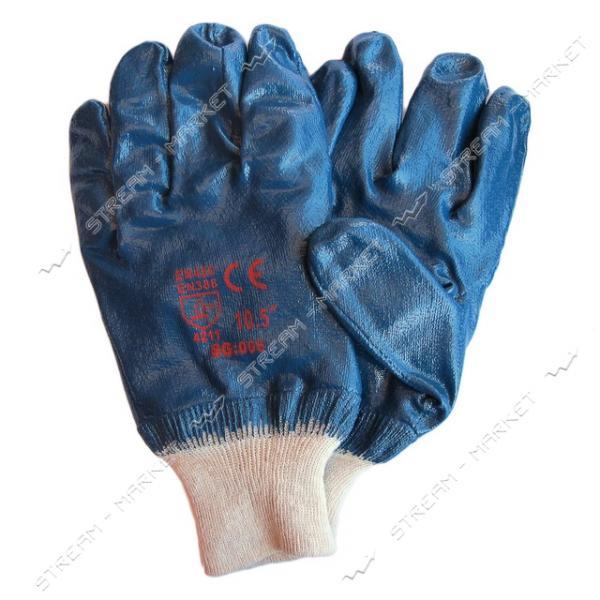 Перчатки рабочие масло-бензостойкие синие х/б с резиновым покрытием