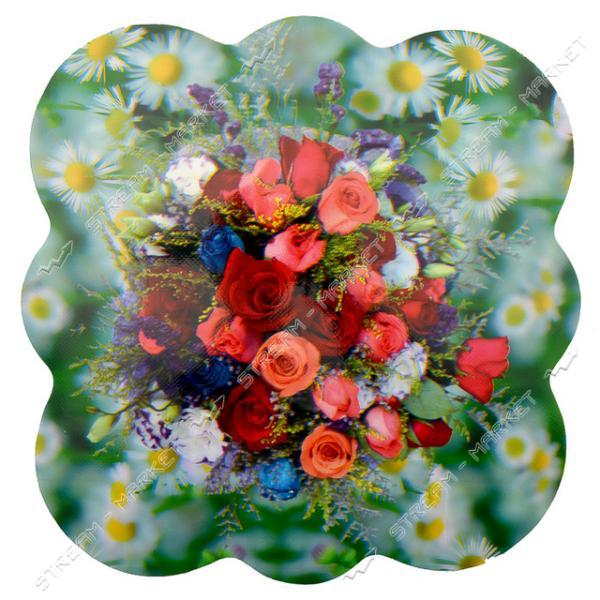 Подставка под горячее Цветы 35х35см 12шт