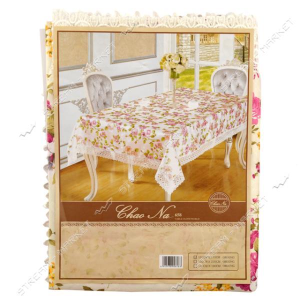 Скатерть для стола Белая/бежевая с кружевом 150х220см