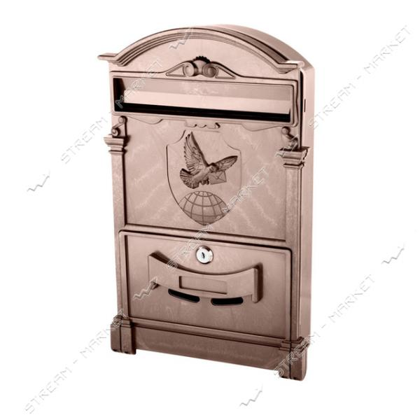 Почтовый ящик пластик цвет коричневый герб голубь PO-0021