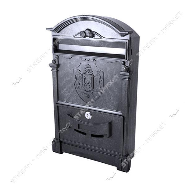 Почтовый ящик пластик цвет черный с трезубцем Украины PO-0013