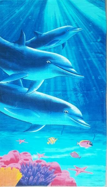Фото ПОЛОТЕНЦА, Пляжные полотенца Полотенце пляжное Дельфины