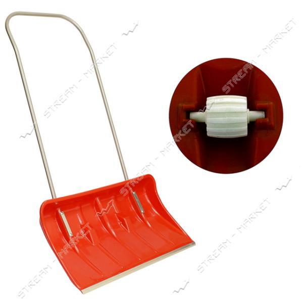 Лопата снеговая пластиковая красная с металлической ручкой и колесиками