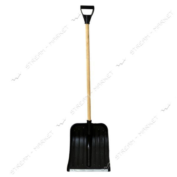 Лопата снеговая пластиковая ZTS черная (с черенком)