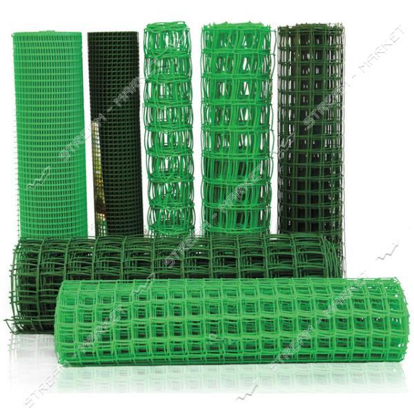 Сетка пластиковая Забор ячейка 10х10мм 1х20м темно-зеленая
