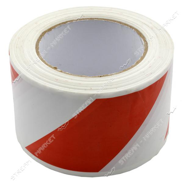 Сигнальная лента красно-белая 72мм 100м