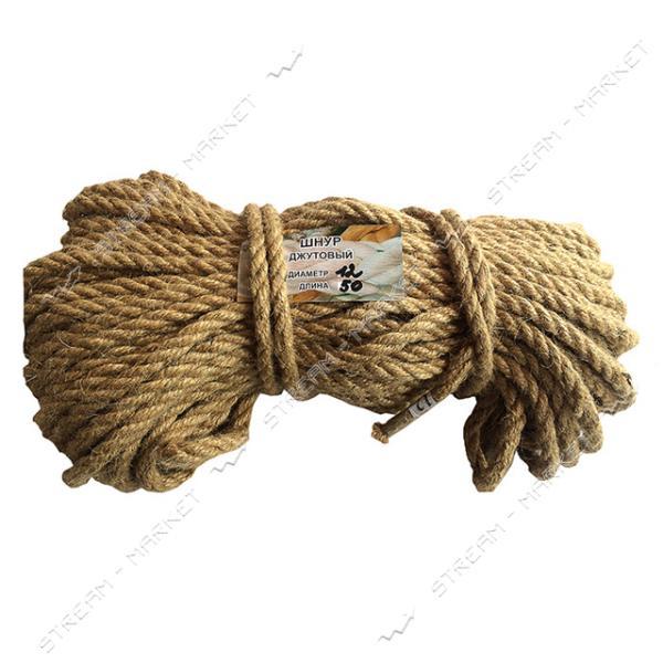 Веревка Лен d12мм 50м кооперативная крученое плетение льняной нити