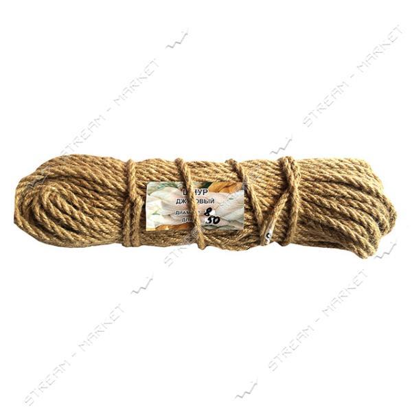 Веревка Лен d8мм 50м кооперативная крученое плетение льняной нити