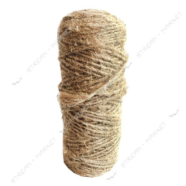 Веревка Пенька большая 400гр крученое плетение конопляной нити (400м)