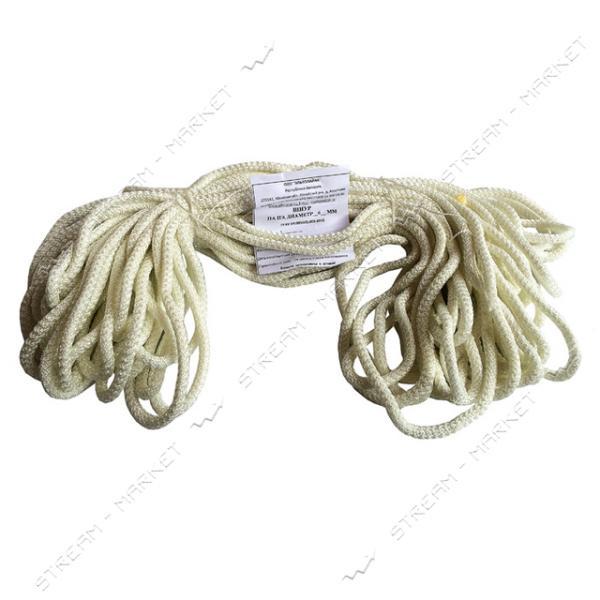 Веревка полиамидная мягкая d8мм 25м ХозКом Белорусь (белый с зеленой полосой)