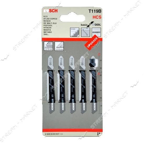 Пилки для эл-лобзика Bosh T119B для твердой и мягкой дер.фанере, ДСП, пластике, оргстекле (цена за 5 шт