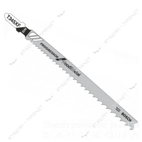 Пилки для эл-лобзика Bosh T345XF для прямого грубого распила, мет. ДСП, пластик, оргстекло(цена за 5шт - Пилки для лобзиков на рынке Барабашова