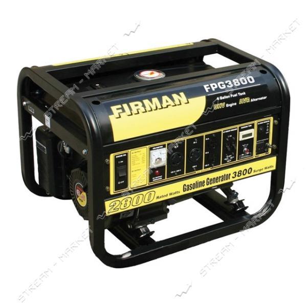 FIRMAN FPG3800 бензиновый генератор 2800 Вт, ручной стартер, бак 15 л, Вес 50 кг.