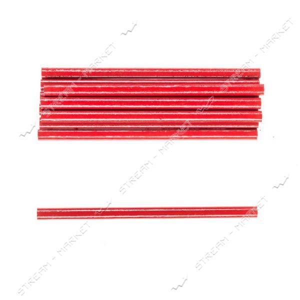 Комплект карандашей с черным грифилем H-TOOLS 14B812 красные, овальные 175мм уп. 12 шт