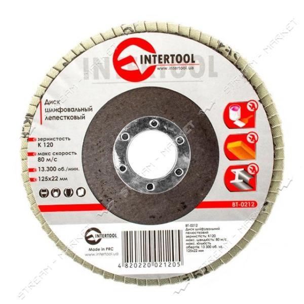 Диск шлифовальный лепестковый INTERTOOL BT-0212 125 * 22мм зерно K120