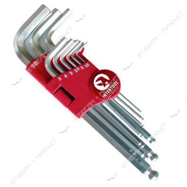 Набор Г-образныхшести-ых ключей INTERTOOL HT-0603 с шарообр-ым након-ом, 9ед.1.5-10мм, Cr-V, 55 HRC