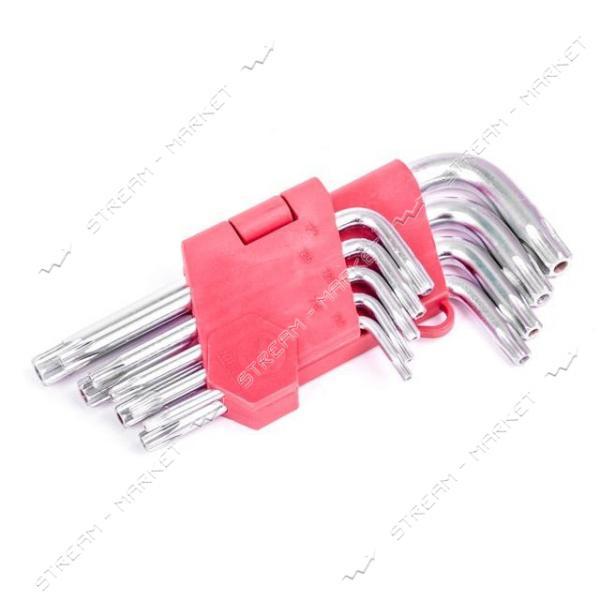 Набор Г-образных ключей INTERTOOL HT-0604 TORX с отверстием 9 шт., Т10-Т50, Cr-V