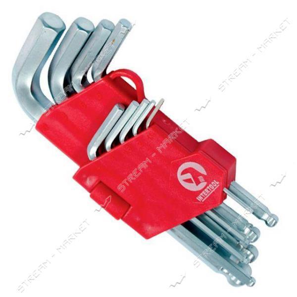 Набор Г-образных шестиг. ключей INTERTOOL HT-0605 с шарообр-ым након-ом, 9ед.1.5-10 мм, CrV, 55 HRC S