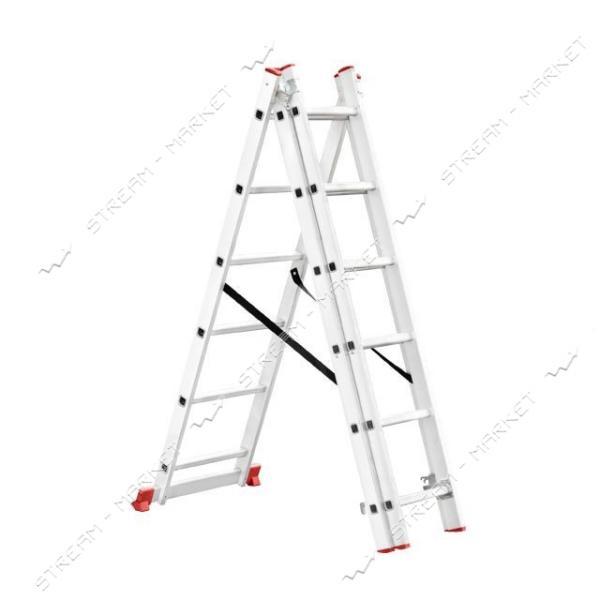 Лестница INTERTOOL LT-0306 алюминиевая 3-х секционная универсальная раскладная 3*6ступ. 3.41м
