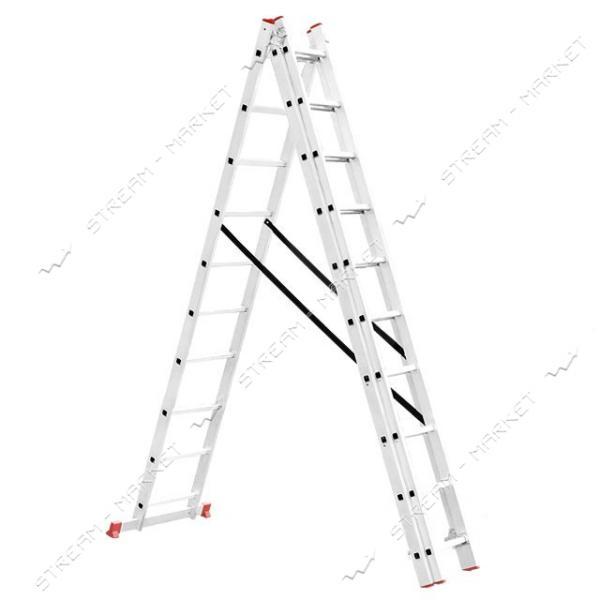 Лестница INTERTOOL LT-0310 алюминиевая 3-х секционная универсальная раскладная 3*10ступ. 6.77м