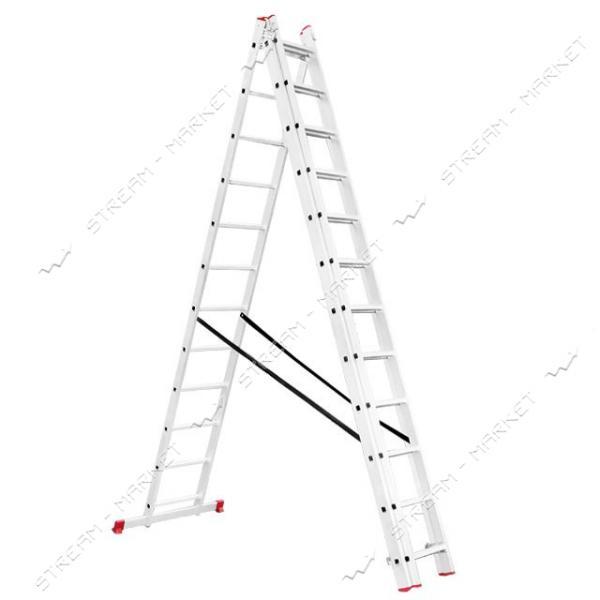 Лестница INTERTOOL LT-0312 алюминиевая 3-х секционная универсальная раскладная 3*12 ступ. 7.89м