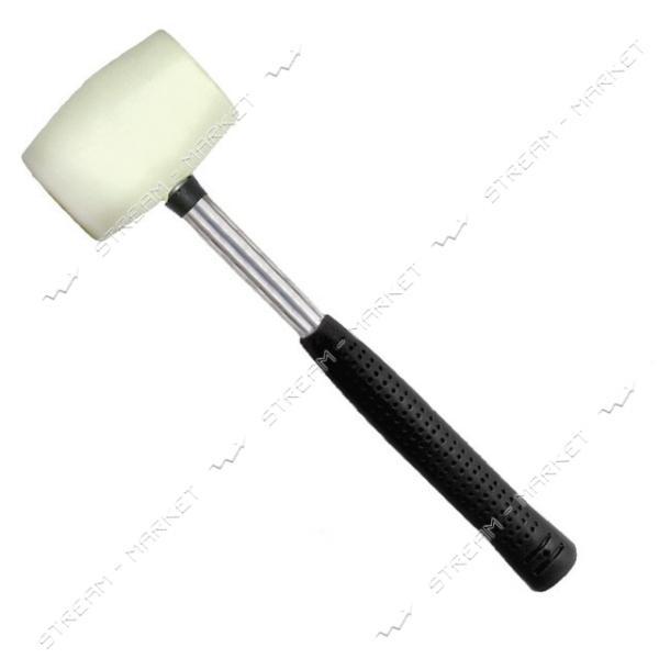 Киянка INTERTOOL HT-0227 резиновая 450г. 65мм, белая резина, металлич. ручка