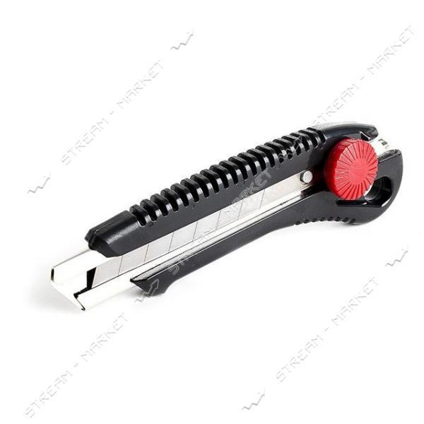Нож INTERTOOL HT-0502 с метал. направляющей под лезвие 18мм с винтовым фиксатором (на блистере)