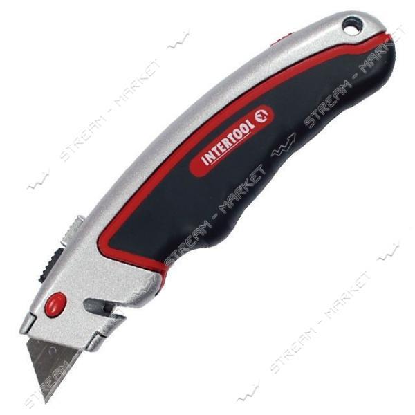 Нож INTERTOOL HT-0516 с выдвижным трапециевидным лезвием, метал. корпус, прорезиненный.