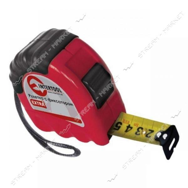 Рулетка с фиксатором INTERTOOL MT- 0210 EXTRA 25мм 10м