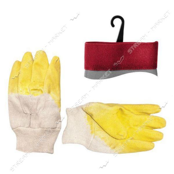 Перчатка стекольщика INTERTOOL SP-0002 тканевая, покрытая рифленым латексом (желтая)